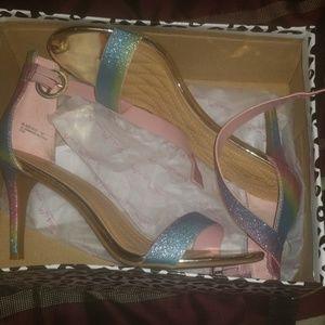 Gently worn sparkly rainbowish heels multi glitter
